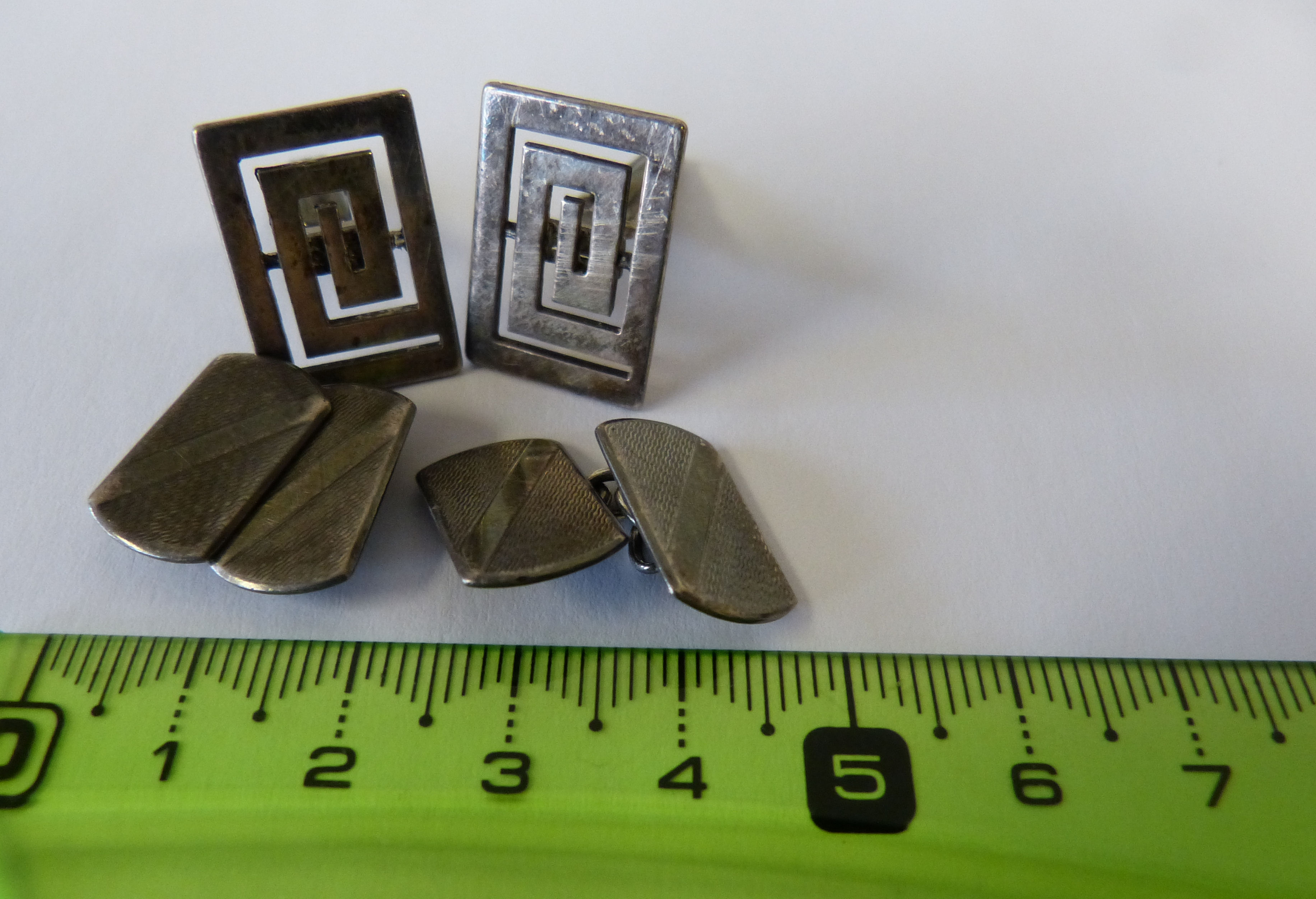 A Pair Gentleman`s Silver Cufflink`s having engine turned decoration also another pair silver gentleman`s cufflink`s, 13.4grms