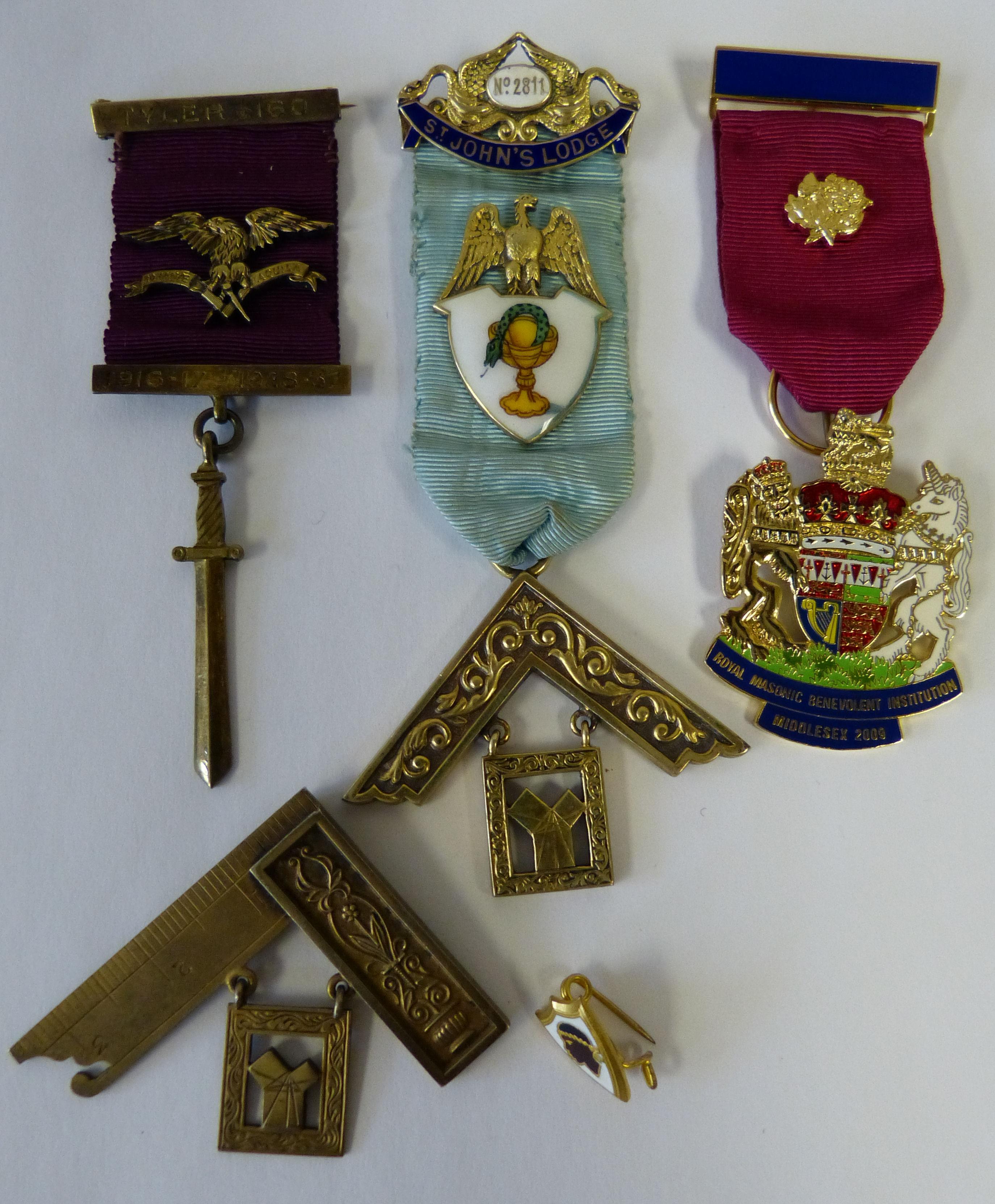 A Silver Gilt Masonic Medal having all over inlaid enamel decoration