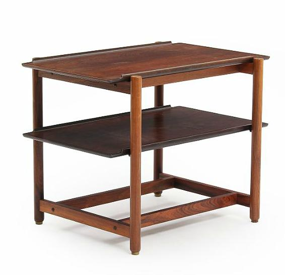 A Brazilian rosewood trolley with two loose trays