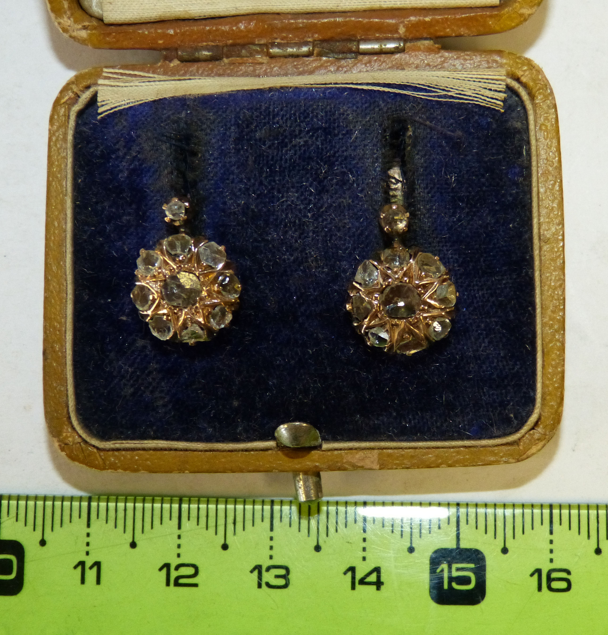 A Pair of 19th Century Gold Earrings mounted with rough cut diamonds