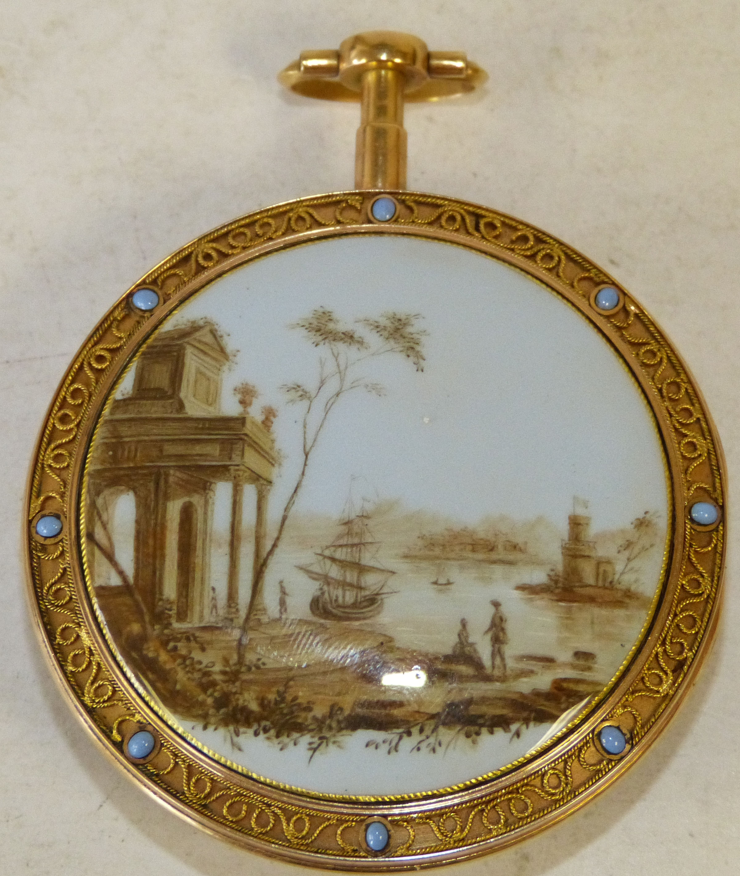 Pierre Gregson High Carat Gold Pair Cased Pocket Watch with decorated back depicting figures on shore with sailing boats