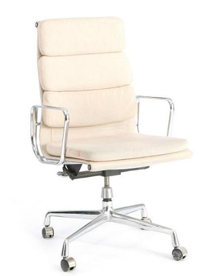 High backed swivel chair on castors with frame of aluminium
