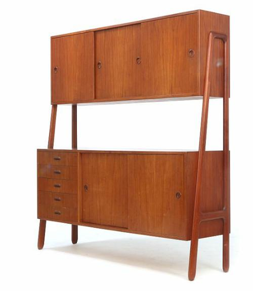 Double teak sideboad with sliding doors, and drawers