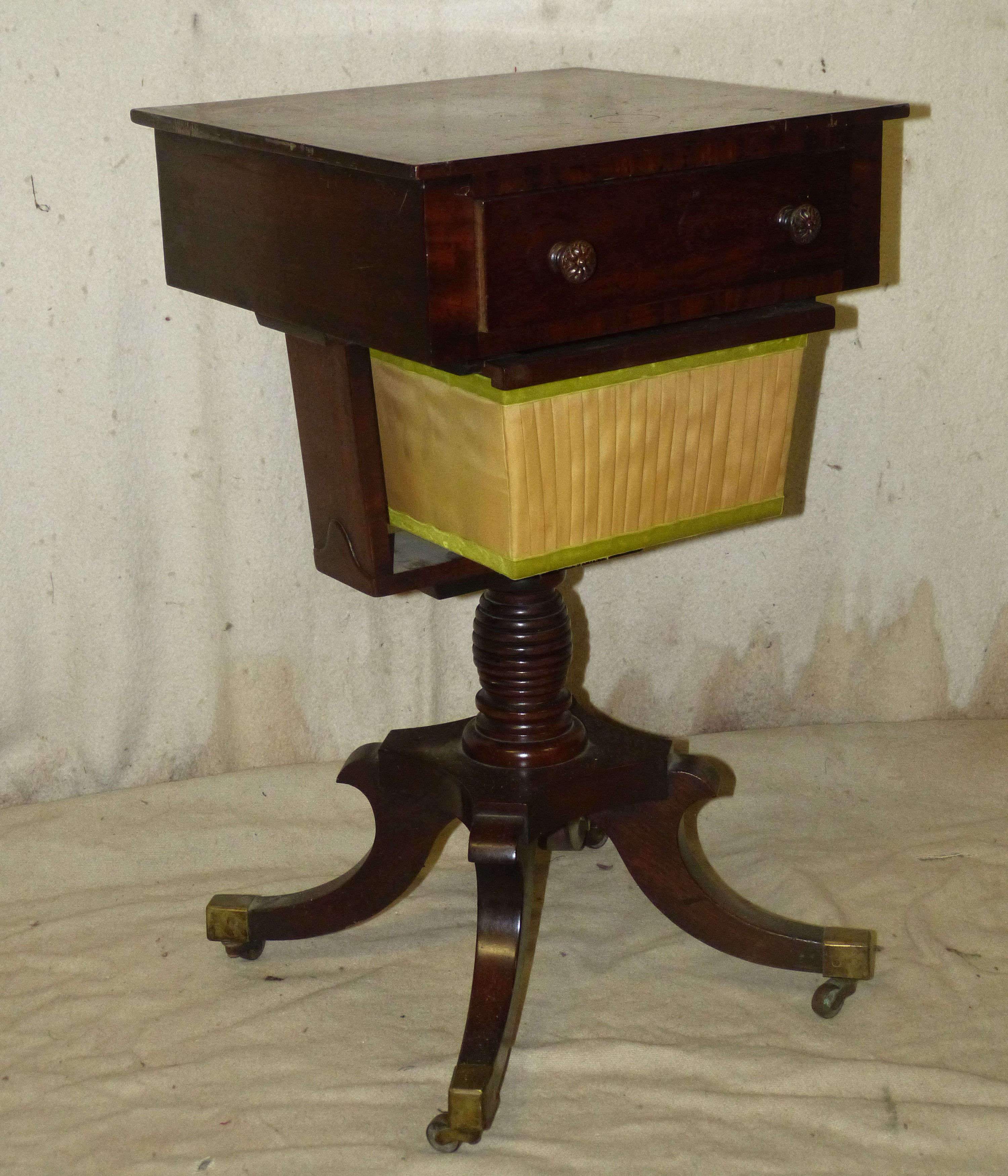A 19th Century Mahogany Square Work Table having inlaid banding and stringing