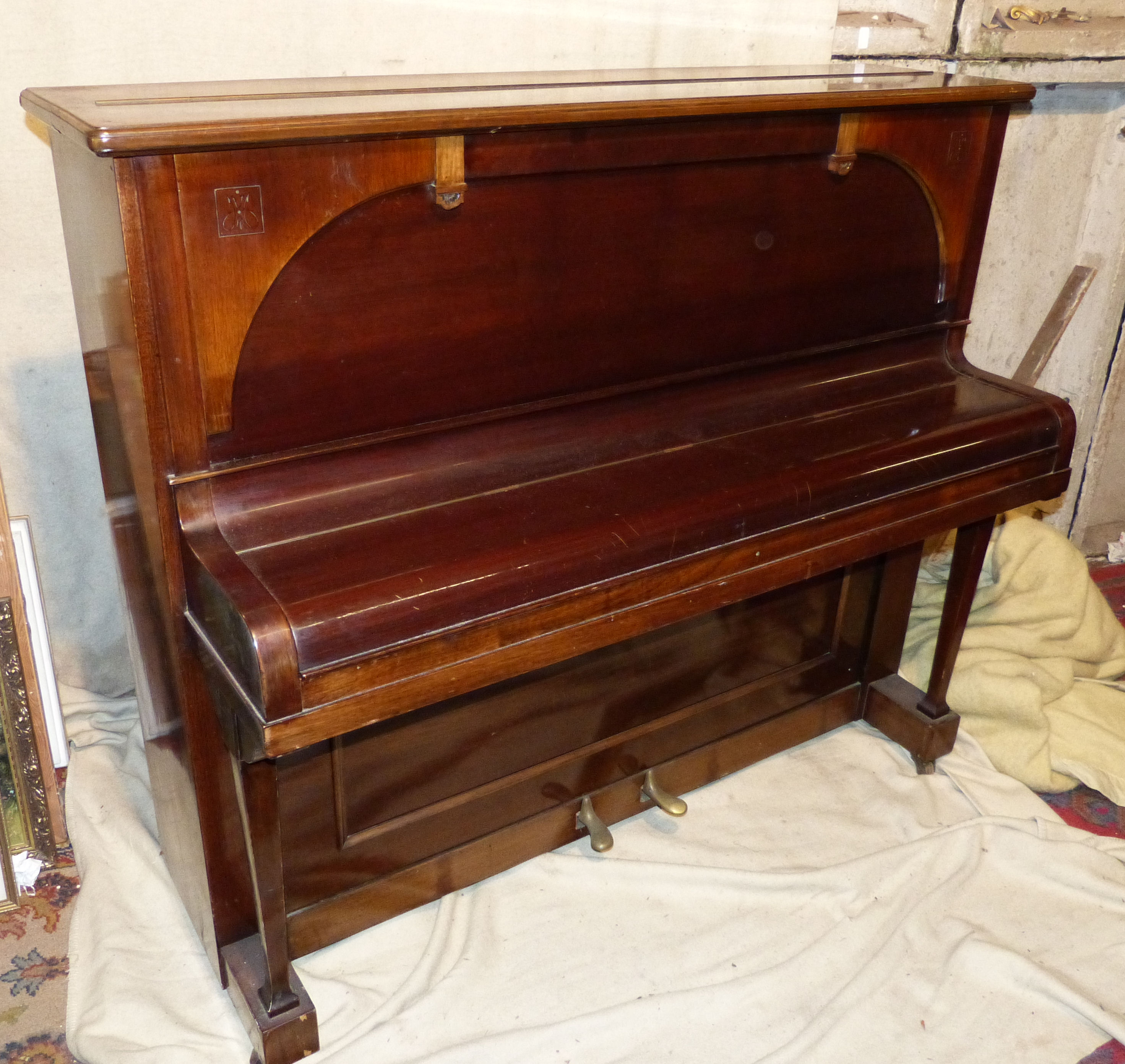 A Collard & Collard, London Mahogany Iron Framed Overstrung Upright Piano on square tapering supports