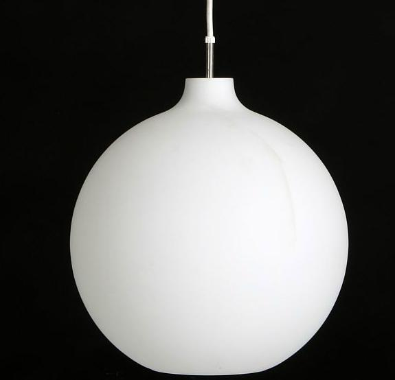"""""""Satellite"""". Pendant with shades of frosted two layer opal glass, shade metal fittings and porcelain socket"""