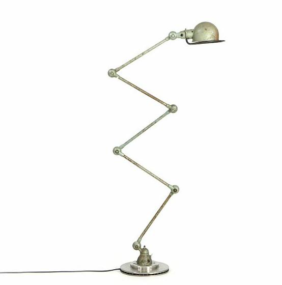 """""""Loft"""". A French adjustable industrial lamp. Partly patinated green metal"""