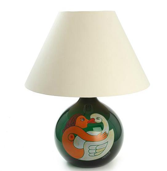 """""""Leda og Svanen"""". A dark green glass table lamp"""