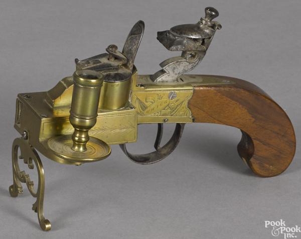 English brass pistol tinder lighter,