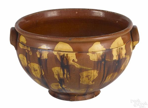 Large Pennsylvania redware centerpiece bowl
