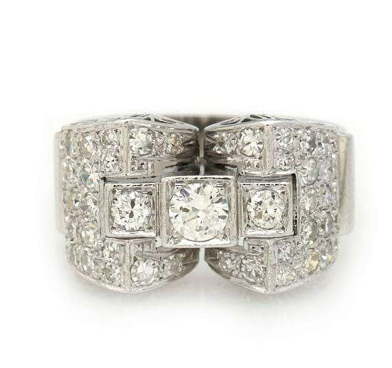 A diamond ring with front of geometric design set