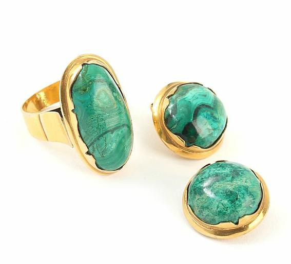Malachite ring and earclips set with cabochon-cut malachite mounted in 14k gold