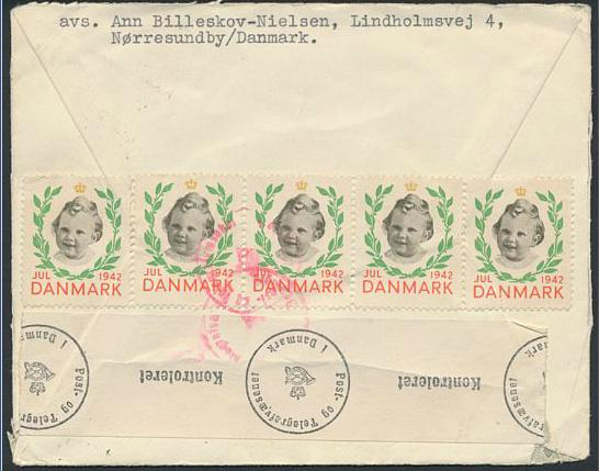 Julemærke. Censurbrev påklæbet julemærker samt Aalborg julemærke 1942. Flere censurstempler