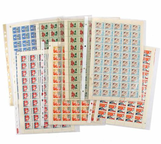 Christmassheet. 1945-1951/50. 7 full sheets in mixed quality, fine sheet 1951/50