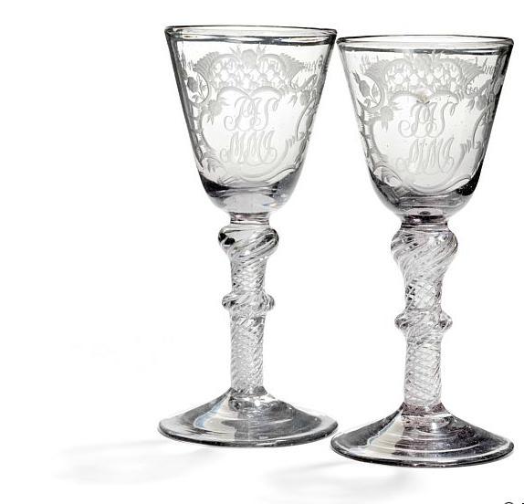 """A pair of Nøstetangen wedding glasses """"Chrystal Desert"""" Norway 1760-75"""