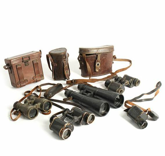 Five German civilian and military binoculars