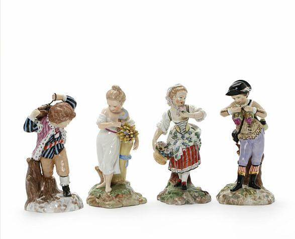 """The four seasons"" four porcelain figurines"