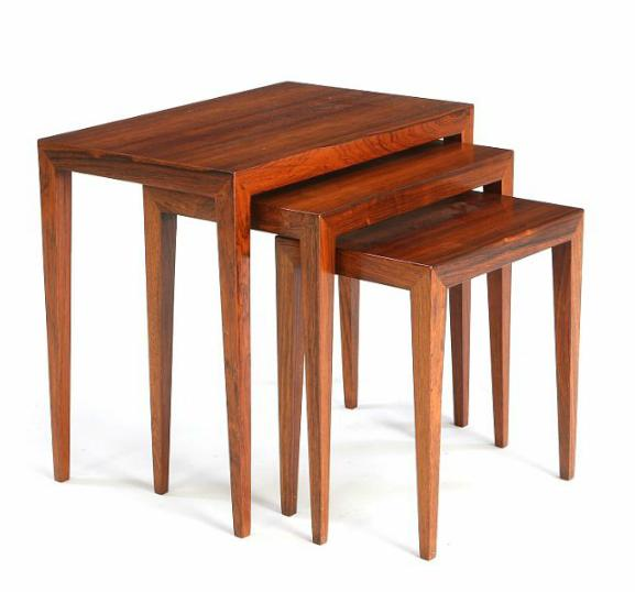 Set of three nesting tables of rosewood.