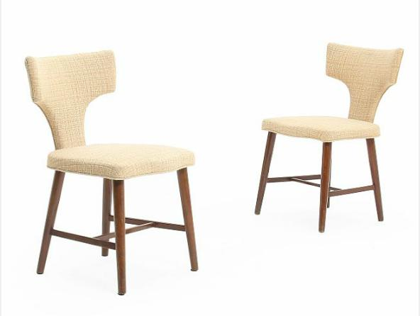 A pair of dressing chairs with stained beech frame, seat and back upholstered with light furniture fabric