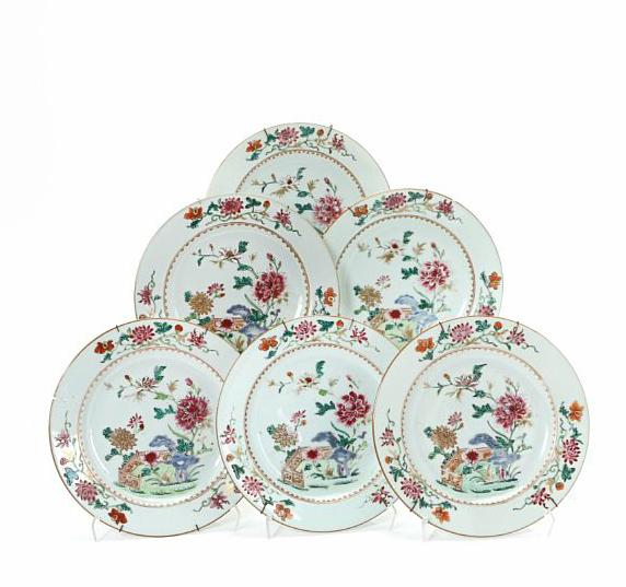 Six Chinese famille rose porcelain plate, decorated in enamel colours with flowers and rock on terrace