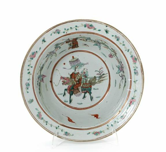 Chinese porcelain wash basin, decorated in colours and gold with figure scenery
