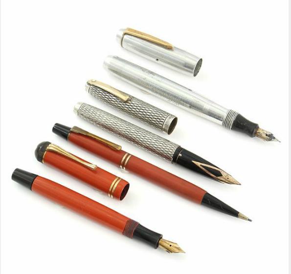 """Masterpiece H810"" fountain pen, Montblanc mechanical pen, Scheaffer sterling silver fountain pen and Homelink fountain pen"