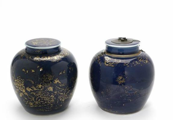 Two Chinese Qing 19th c. powder blue covered porcelain jars