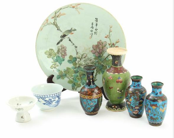A selection of Oriental cloisonné and porcelain ware
