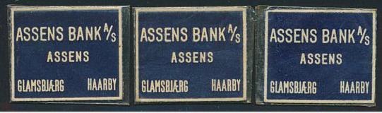 FRIMÆRKEPENGE. ASSENS BANK. 1, 2 og 5 øre. Ex. Arne Andreasen