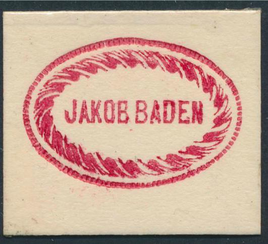 FRIMÆRKEPENGE. Jakob Baden. Ex. Arne Andreasen