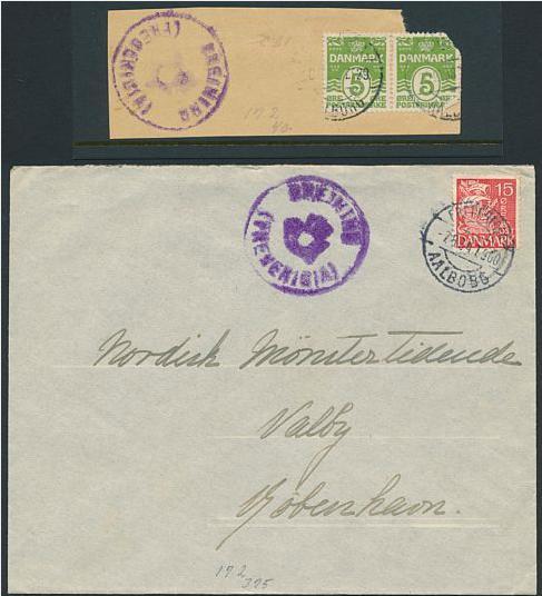 BREGNINGE (FREDERICIA). Posthornsstempel på brev og brevklip