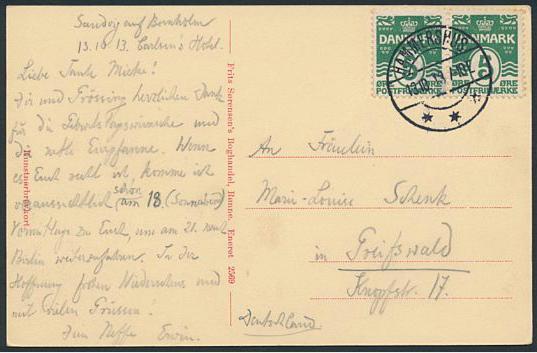 """HAMMERSHUS"". Canc. on postcard. Very fine quality"