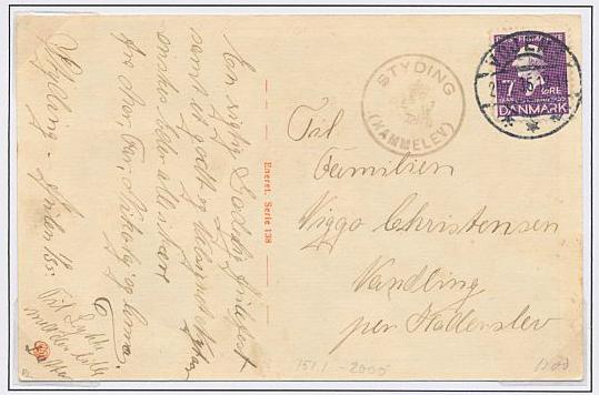 STYDING (HAMMELEV). Posthorn-canc. on fine postcard. RARE. Skilling +2000