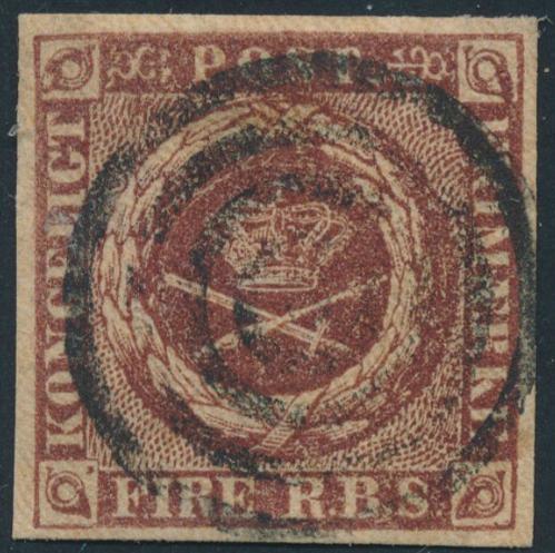 1851. 4 RBS Ferslew. Plade I, nr.53. Nydeligt mærke med pæne ensartede rande. Ex. J. Schmidt-Andersen
