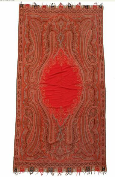 A mid 19th century Cashmere Paisley wool piano shawl