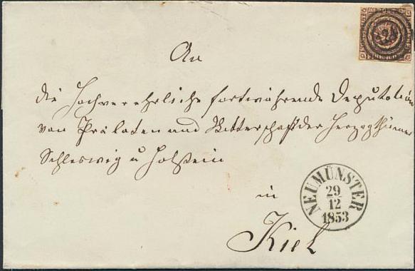 1853. 4 RBS Thiele II, sortbrun. Brev med skarpt nr.stempel 124 og sidestempel NEUMÜNSTER