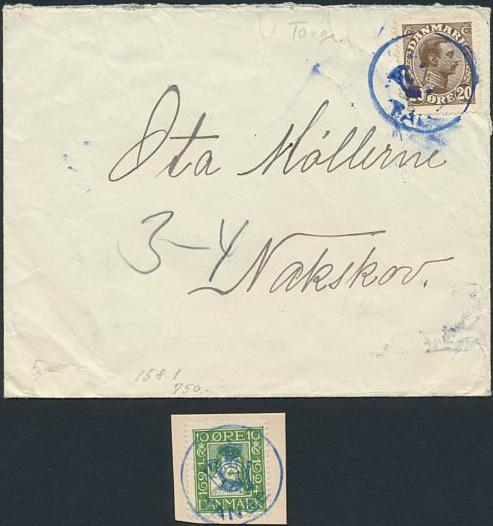 TANGE. Posthornsstempel i blå farve på brev samt på brevklip