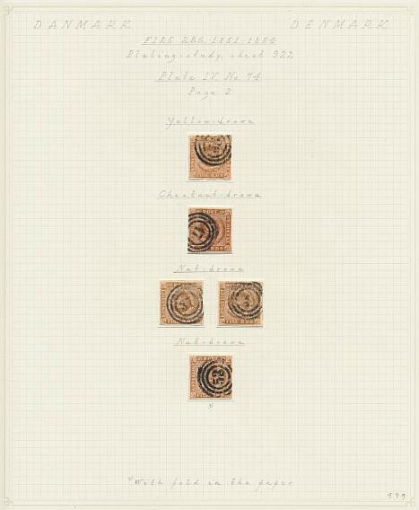 1854. 4 RBS Thiele III, gulbrun-nøddebrun. Plade IV, nr.74