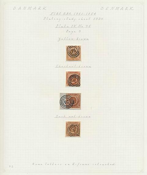 1854. 4 RBS Thiele III, gulbrun-nøddebrun. Plade IV, nr.95