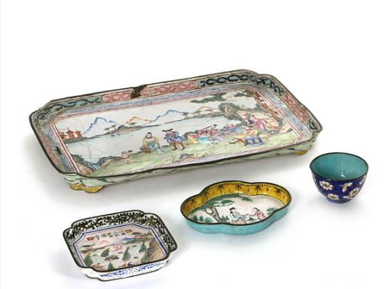 Three various Canton enamel trays and a small bowl, Qianlong and later