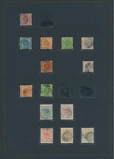 Danmark. 1851-1973. Samling i Leuchtturm album med gode skilling, tofarvede, mange provisorier, posthus, gl. luftpost 1925, og m