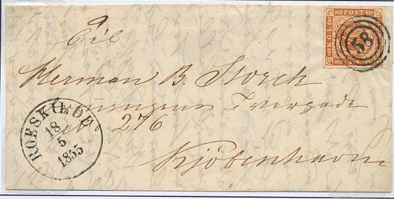 1854. 4 sk. 1.print. 2 pages with 5 stamps and 2 covers. Incl. 2 copies with LARGE RETOUCH. One cert. Nielsen