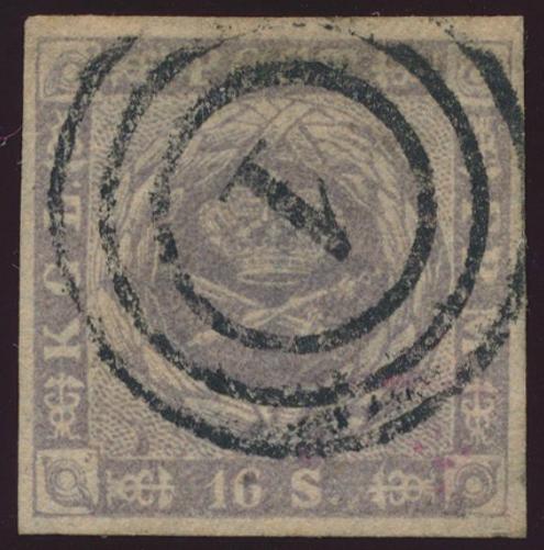 "1854. 16 sk. greypurple. Fine used copy withy kliché-flaw ""Dent in SE frame"""