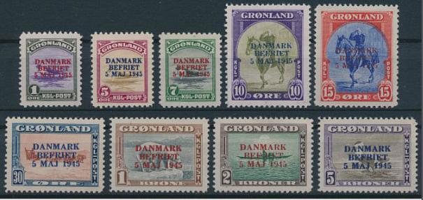 """1945. """"Danmark Befriet"""". Complete NH set. AFA 8000"""