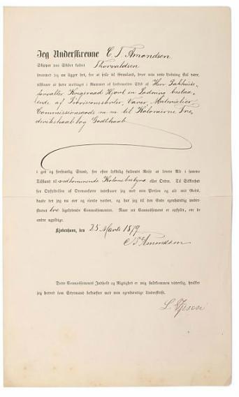 1879. Document regarding captain Amondsen for his travel to colonies Frederikshaab