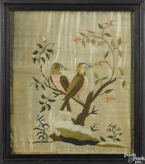 Silkwork picture of two birds