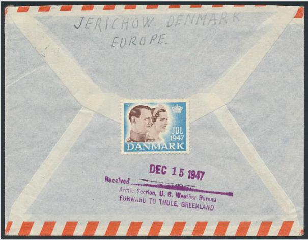 """1947. Airmail cover from Gram to Greenland with scarce """"Arctic Section. U.S. Weather Bureau - Forward to Thule Greenland"""""""