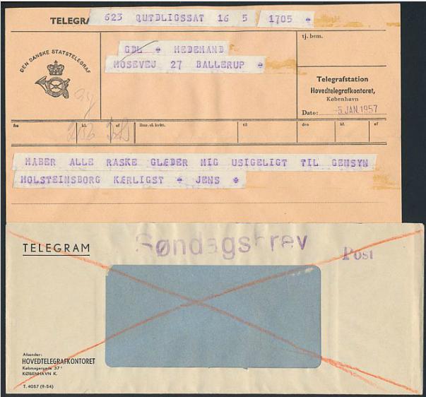"1957. TELEGRAM from Qutdligssat, GREENLAND. Sent 5.1.1957 to Denmark. Sent and delivered as ""SØNDAGSBREV"". very rare"