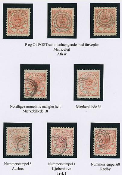 1864. 4 sk. Red. 2 pages with 14 used copies. Most of them with varieties