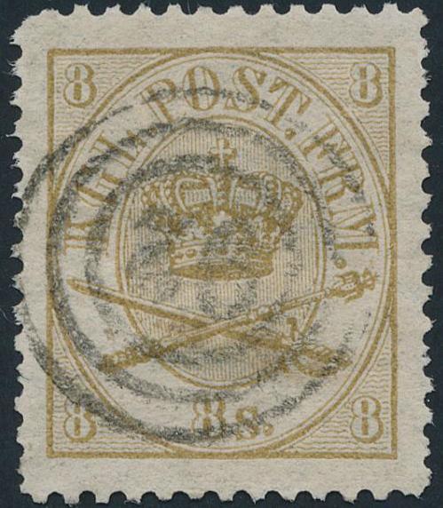 1864. 8 sk. Yellow brown, (1870) line perforat...